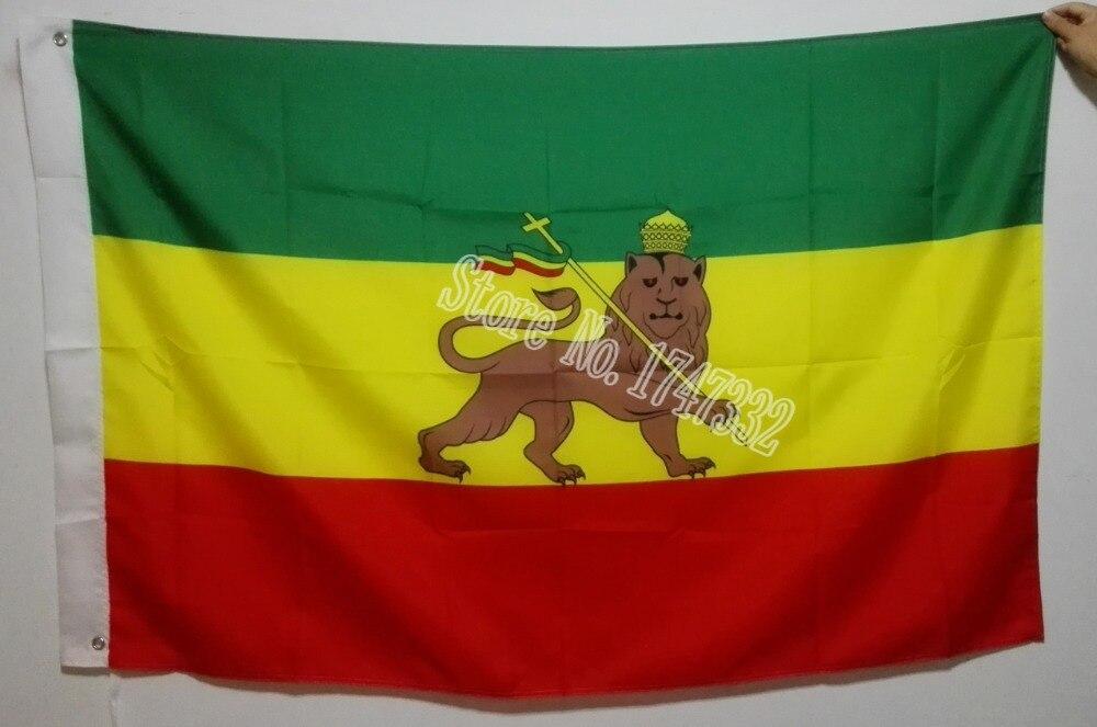 Flag of Ethiopia National Flag hot sell goods 3X5FT 150X90CM Banner brass metal holes FE01
