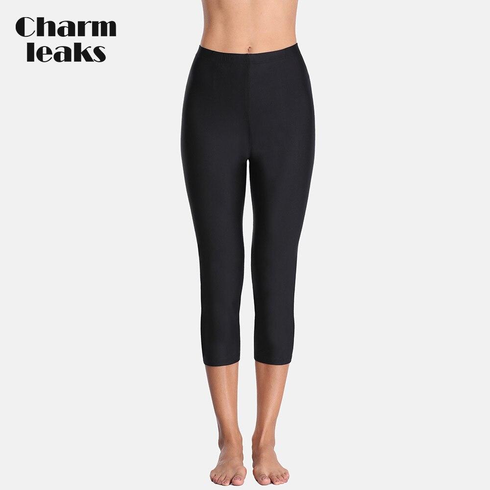 Charmleaks mujer de cintura alta natación Capris Pantalones mujer Tankini inferior traje de baño Capris pantalones de Deportes de natación