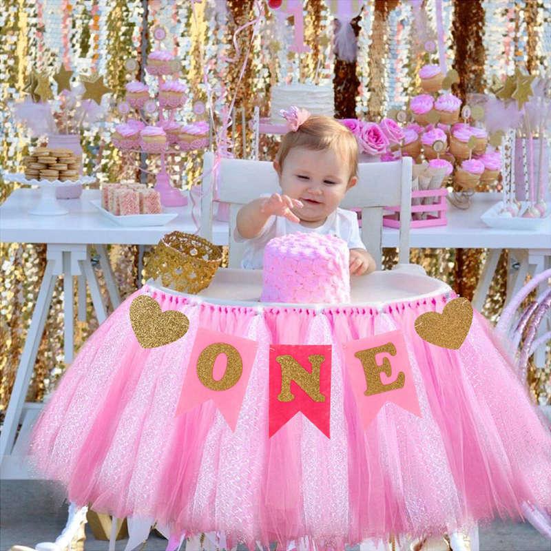 Banderín de silla azul y rosa de primer cumpleaños para bebé, decoración de fiesta de cumpleaños para 1 año de niño y niña, banderines y banderas