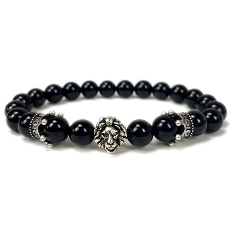 Noter Natural Obsidian Stone Bracelet Male Boys Vintage King Lion Bracelets Hiphop Rock Charm Braslet Pulseira Masculina Armband