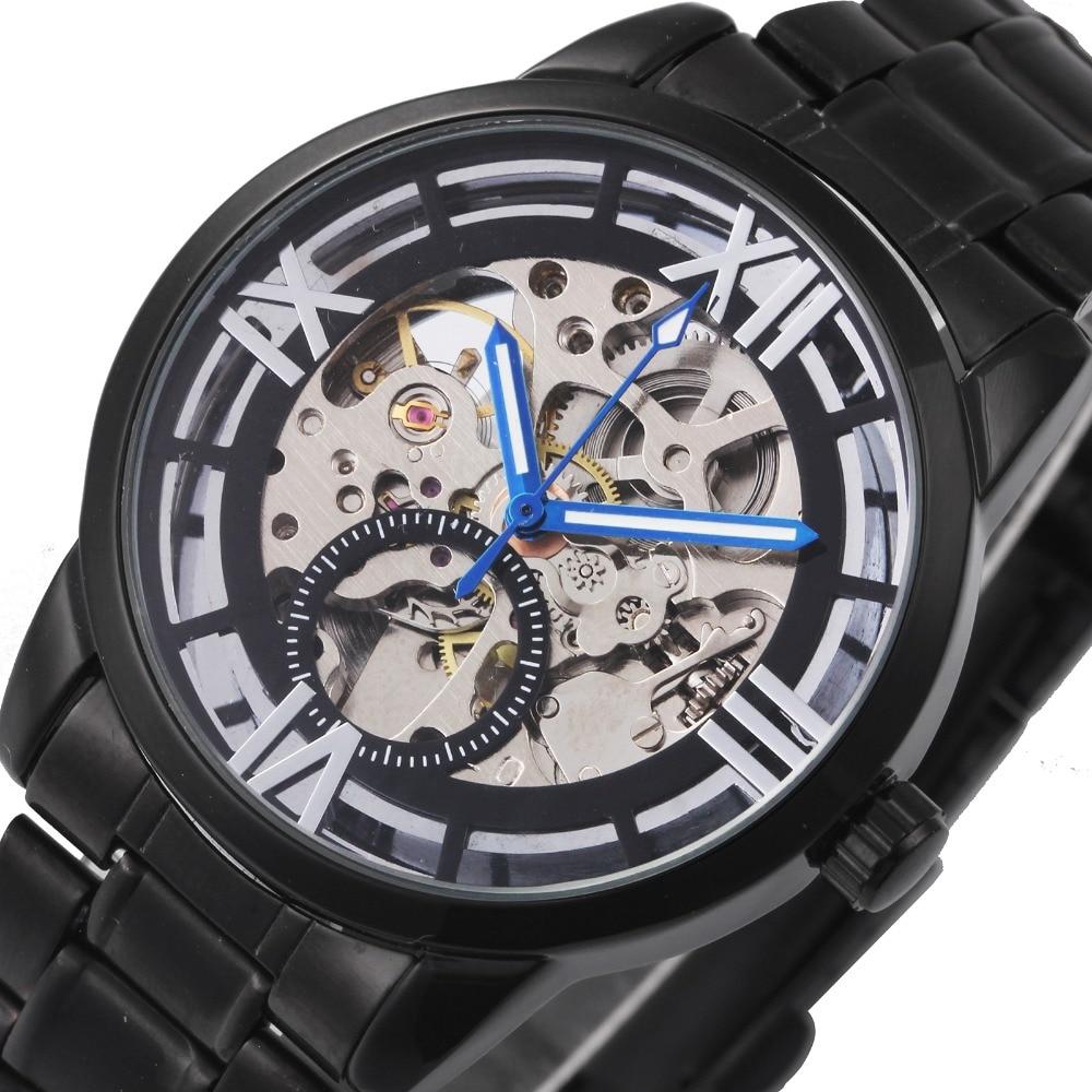Relojes de pulsera mecánicos negros para hombre WINNER 2019, esqueleto de la serie Louvre, diseño de números romanos, correa de Metal automática para reloj