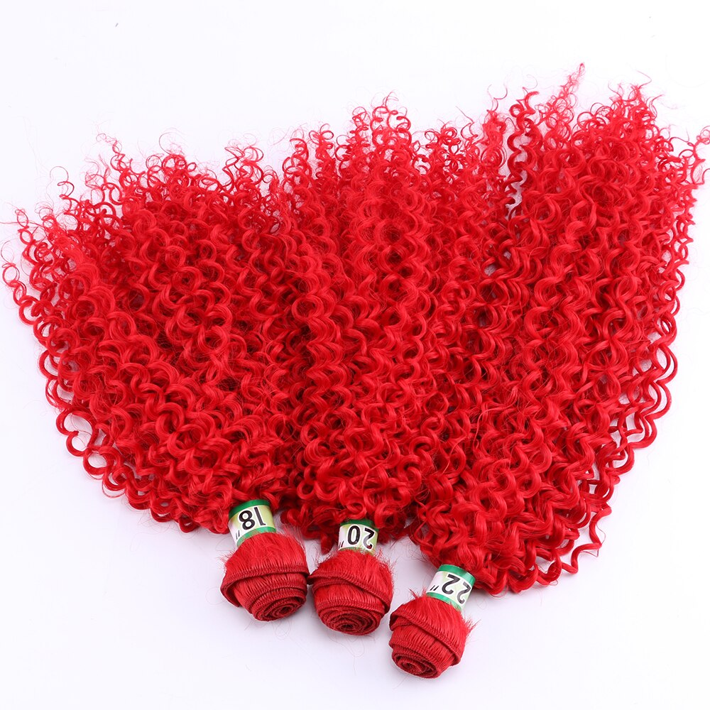 Extensión de pelo sintético Rosa Rojo Dorado marrón extensión de pelo rizado Paquete de máquina tejido de pelo de doble trama