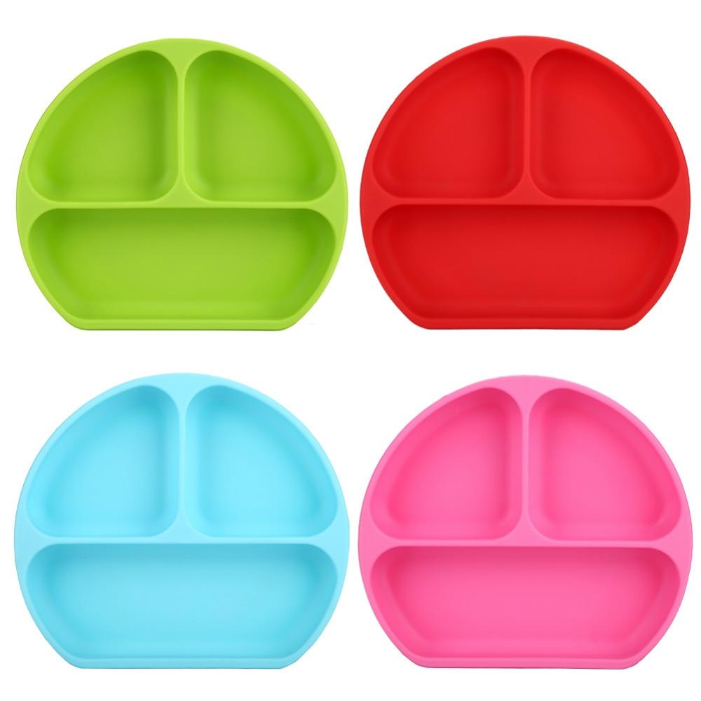 Platos para bebés, plato de silicona sonriente con sección creativa para niños con ventosa, plato de comida de silicona con división adhesiva fuerte