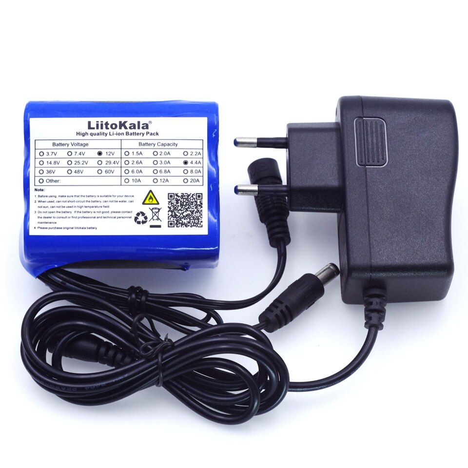 Аккумуляторные батареи Liitokala, 12 В, 4,4 а/ч, 4400 мА/ч, 18650, 12,6 В, защитная плата PCB для литиевых батарей + зарядное устройство 12,6 В 1 А