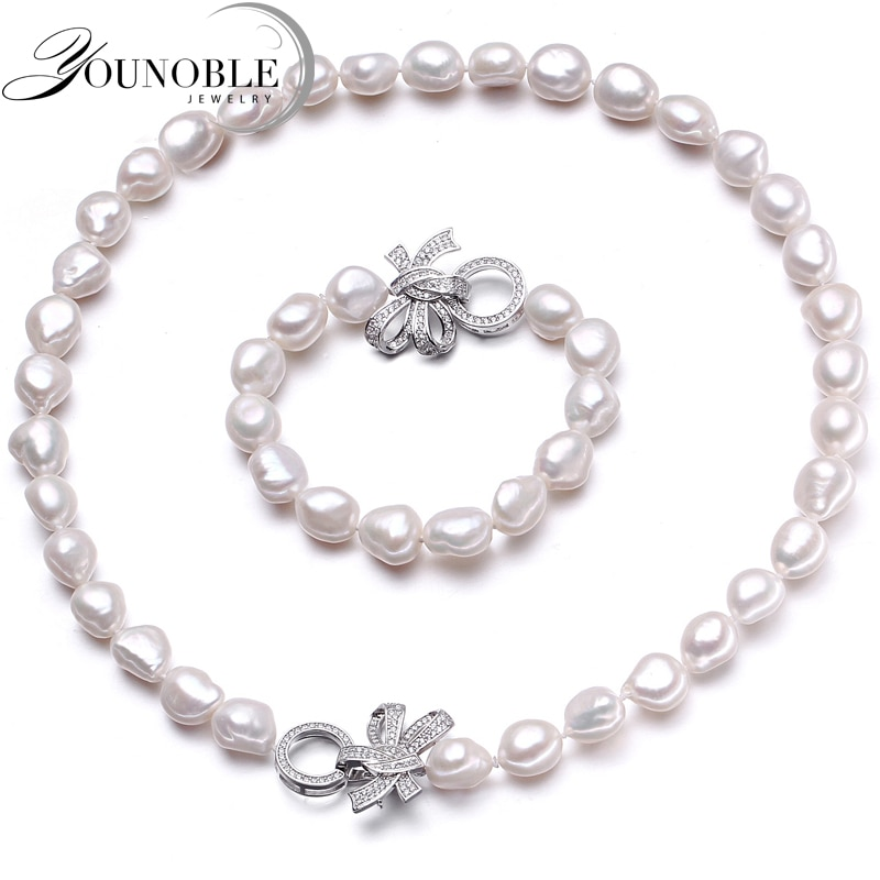 YouNoble Baroque 925 Silver 100% White Natural Freshwater pearl Jewelry Sets Real pearl Necklace Bracelet Jewelry Sets for women natural freshwater exquisite pearl bracelet women jewelry white pearl charms bracelet 925 silver jewelry wedding gift