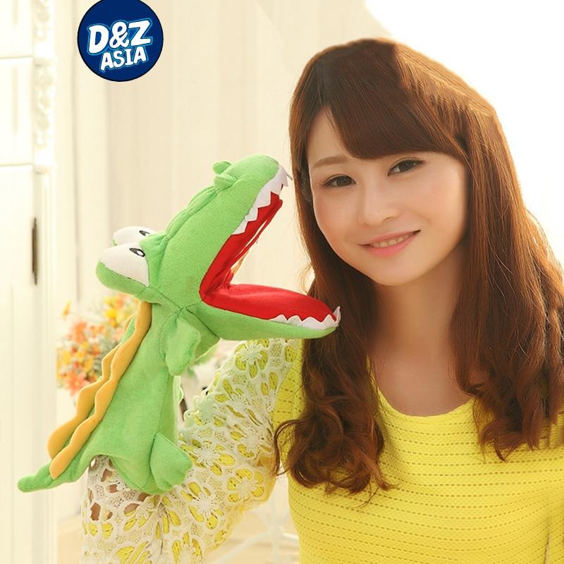 Juguete de marioneta de mano boca de cocodrilo guante para niños, marioneta de dedo, ventriloquismo de dibujos animados, muñeco de peluche de cocodrilo
