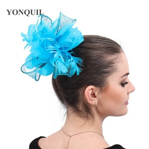 Turquoise Sinamay Ladies Yarn Fascinator Hair Accessories Formal Dress Party Dinner Headdress With Fancy Feather Headwear Dinner