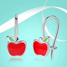 FOREWE 2019 New 925 Sterling Silver Stud Earrings For Girls Kid Children Red Enamel Tiny Apple Earrings Cute Fashion Jewelry