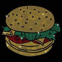 2pclot cheeseburger design stone hot fix rhinestone transfer motifs iron on design rhinestone applique patch for shirt