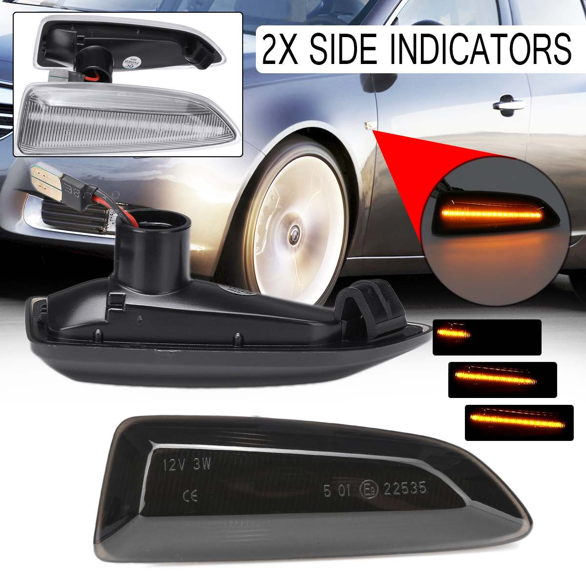 2 uds dinámica luces LED de posición lateral 12V señal de giro fluctuante del lado de la luz repetidor lámpara de Panel para Opel Astra J K