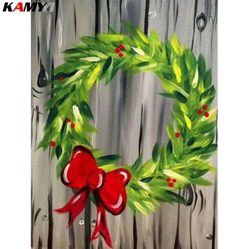 Completo cuadrado/redondo taladro 5D DIY pintura de diamantes Navidad corona 3D bordado punto de cruz mosaico de decoración con piedras de imitación HYY