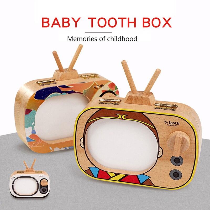 Коробка для хранения зубов в форме ТВ память о зубах детей запись роста младенцев