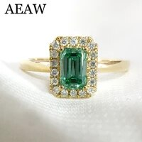 14k yellow gold 1ctw carat emerald cut engagement wedding ring for women light green moissanite diamond ring set test positive