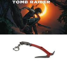 HEYu jeu tombe Raider arme porte-clés Lara Croft escalade hache métal pendentif porte-clés porte-clés sac Chaveiro