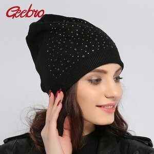 Geebro Women's Wool Beanie Hat Winter Warm Cashmere Hats With Rhinestones Hats for Female Hat Knitted Wool Beanies Gorros Cap