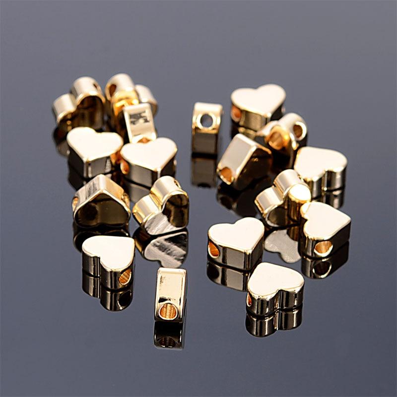 Miasol 10 Uds 6x7MM chapado en oro simple colgante de corazón cuentas para hacer joyería Diy