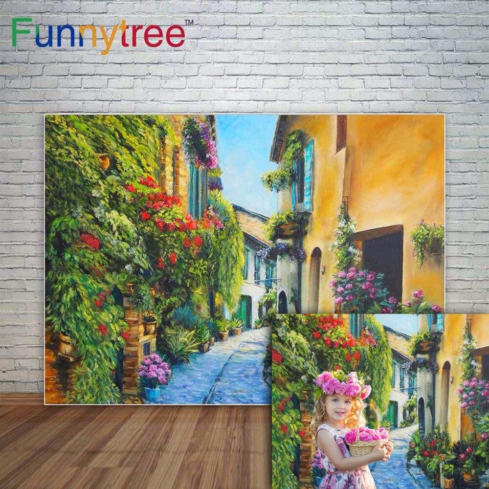 Funnytree telón primaveral photograpy street flowers pintura casa al aire libre Fondo sesión fotográfica para sesión de fotos photophone