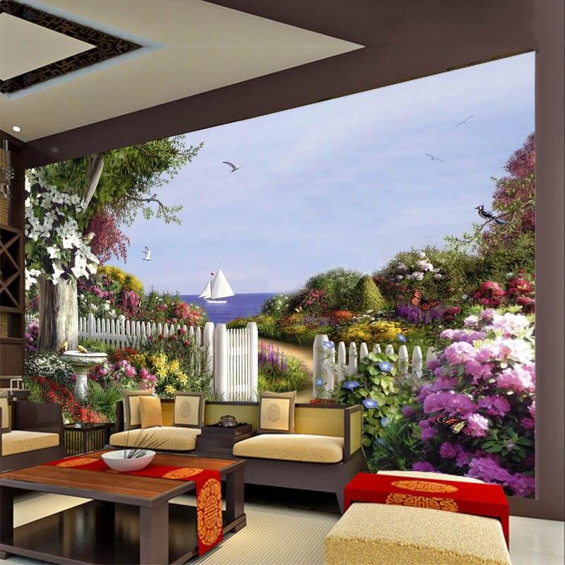 Европейская масляная живопись, садовые обои, телевизор, гостиная, спальня, гостиница, ресторан, фон для стен, пейзаж, объемная большая роспис...