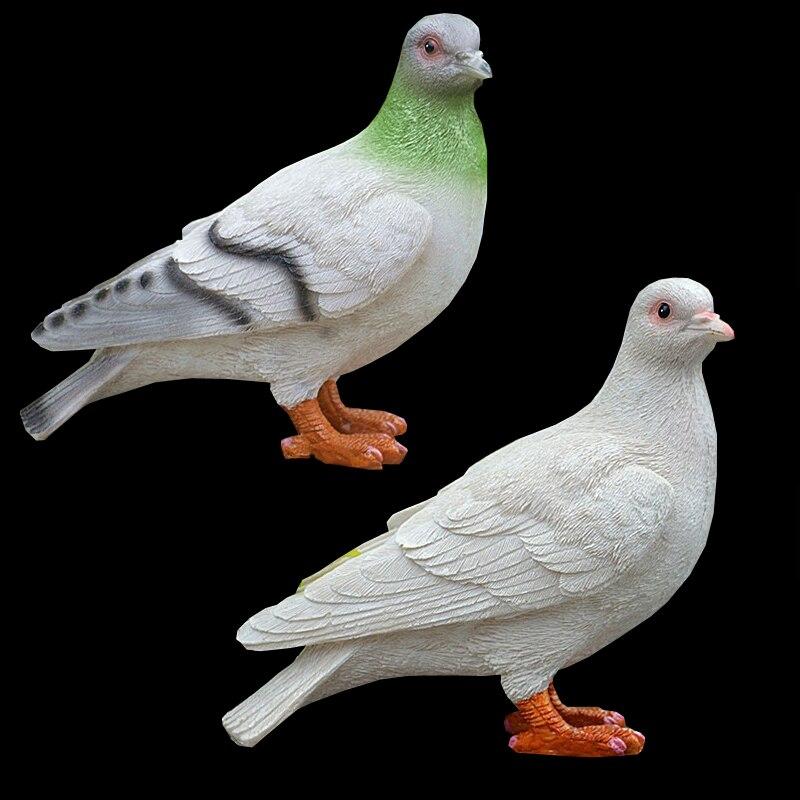 Artesanato de Decoração para Casa Pombas Escultura Estatueta Ornamento Animais Aves Pombo Estátuas Jardim Decorativo Branco 2 Pcs
