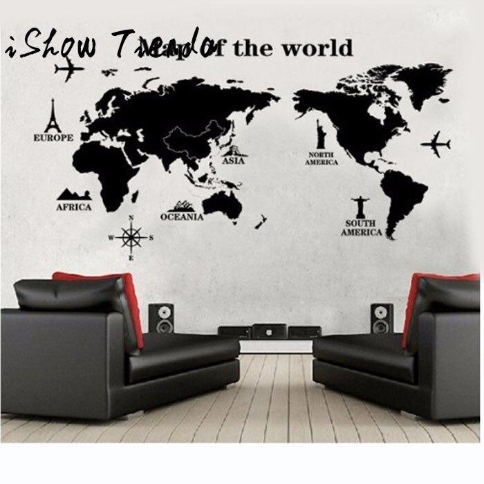 Mapa del mundo De vinilo extraíble, adhesivo artístico De Pared calcomanía De...