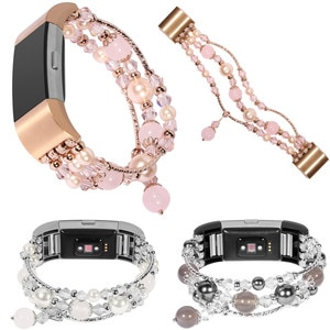 Bling Pearl Agate Watch Strap for Fitbit Charge 2 Band Women's Watch Band Replacement Strap with Retail Package
