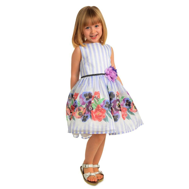 Yatheen menina 2-6x listra floral borda ajuste e alargamento vestido crianças vestidos de festa