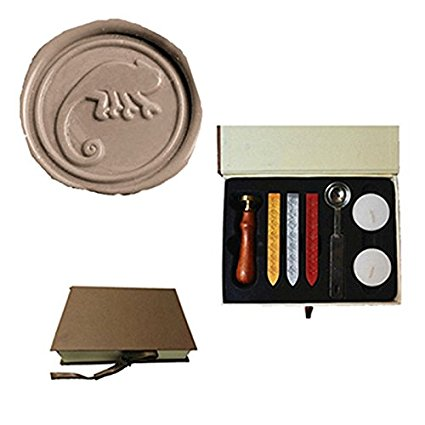 Mdlg vintage lagarto Custom Picture logo invitación de boda Cera sello Palos Spoon Gift Box Set Kit