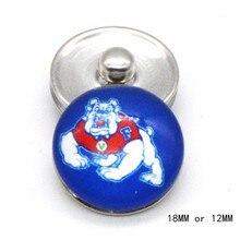 Gonzaga Bulldogs NCAA Sport verre boutons pression 18mm 12mm ajustement boutons pression Bracelet & Bracelet femmes bricolage Snap bijoux NE11206