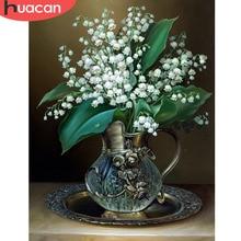 HUACAN 5D blanc russie fleur diamant peinture pour salon point de croix bricolage diamant mosaïque populaire artisanat fait main F1333