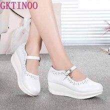 2020 frühling Echt Leder Schuhe High Heels Runde Flach Mund Frauen Schuhe Keil Freizeit Weiß Krankenschwester Mom Schuhe Schuhe Größe 33-43