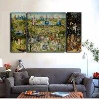 Imprimes sur toile  3 pieces  peinture a lhuile celebre de Bosch  le jardin des plaisirs de la terre  decoration de maison