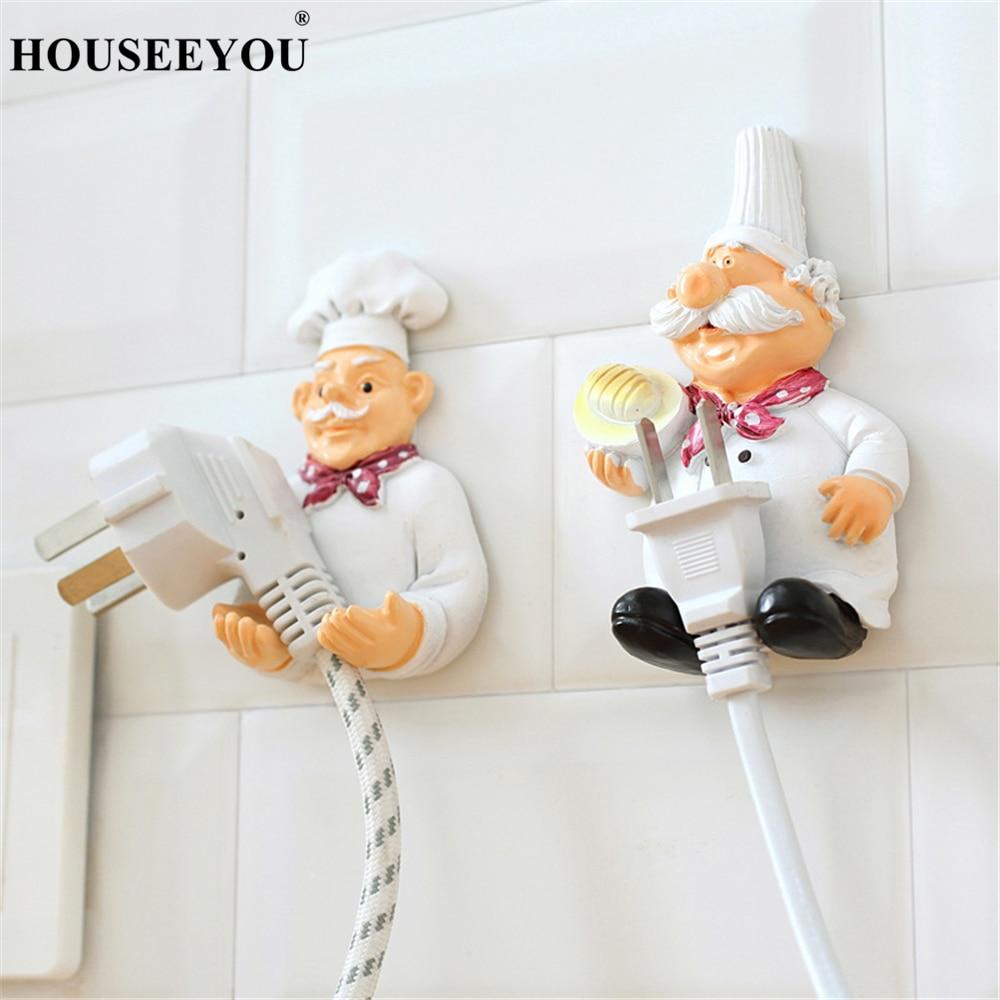 De dibujos animados de cocina Chef fuerte auto-adhesivo gancho de almacenamiento de pared de cocina soporte de enchufe de salida clave baño pegajoso toalla organizador