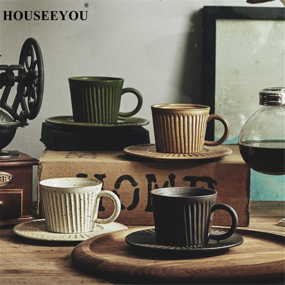 HOUSEEYOU Japanese Style Handmade Pottery Coffee Cup Teacup Saucer Set Creative Ceramic Cup Advanced Porcelain Afternoon Tea Cup