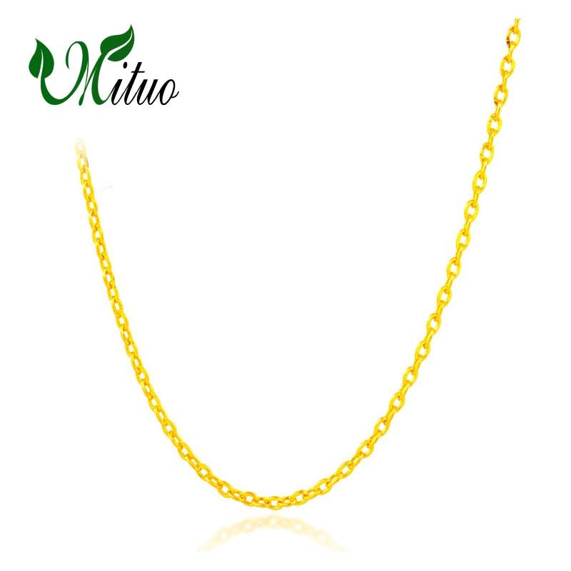 ¡Oferta! cadena de oro rosa amarillo de 18K genuino MITUO, collar de oro puro de 18K para amor, el mejor regalo para mujeres, collares de oficina