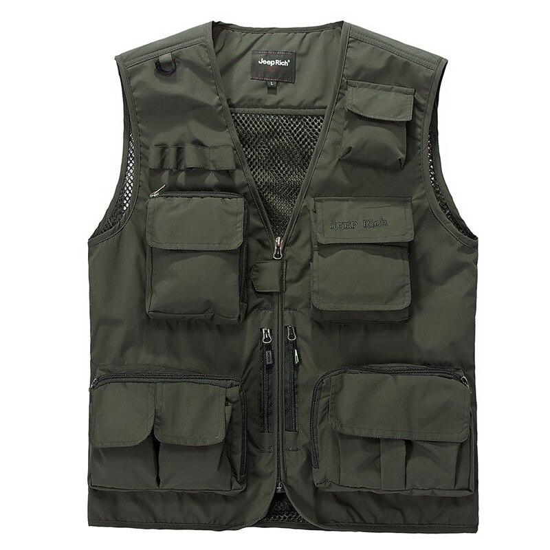 2019 New Summer Vest Men Casual Light Thin Mesh Multi-pockets Vest Male