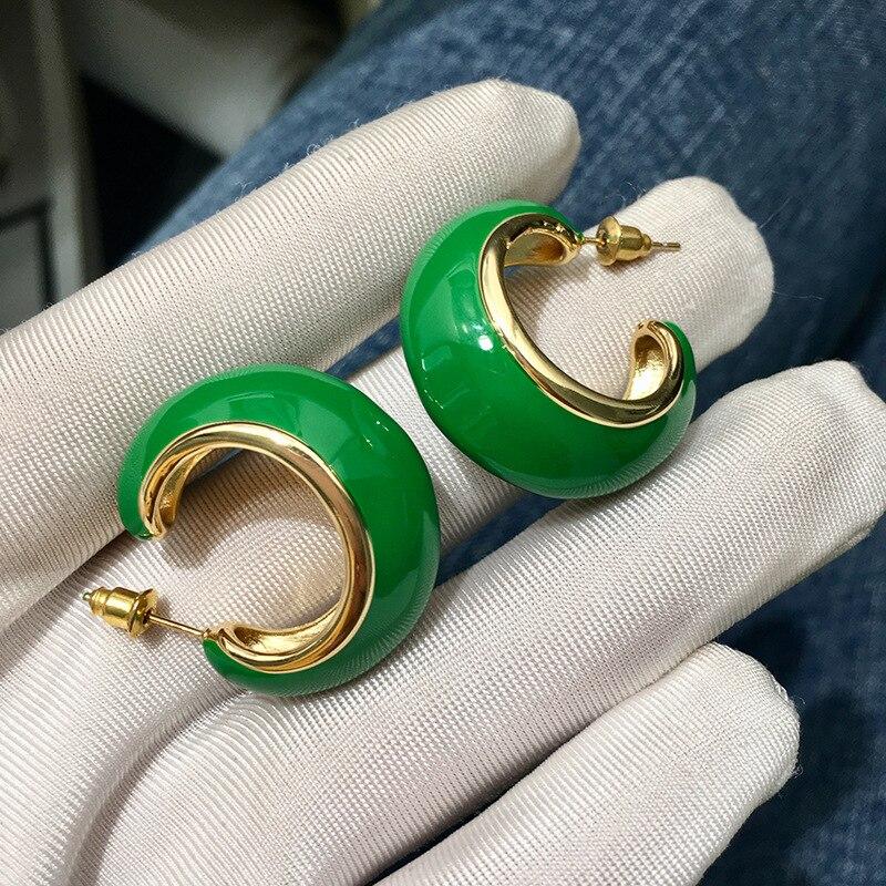 Bilincolor moda moda bonito golden green esmalte big brinco para as mulheres