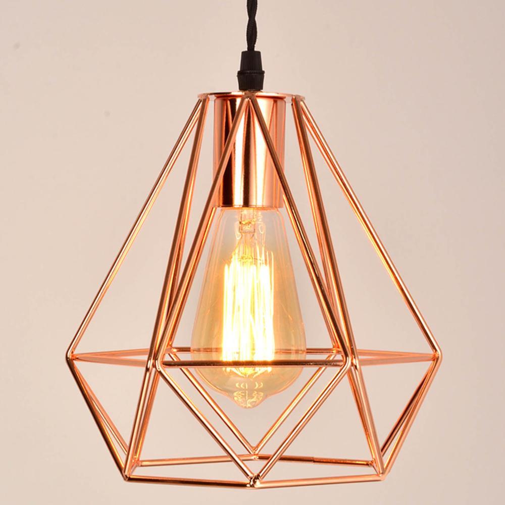 2018 moderno chapeamento de metal gaiola pingente lâmpada, chapeamento do vintage rosa ouro gaiola criativo pendurado lâmpada para restaurante sala estar