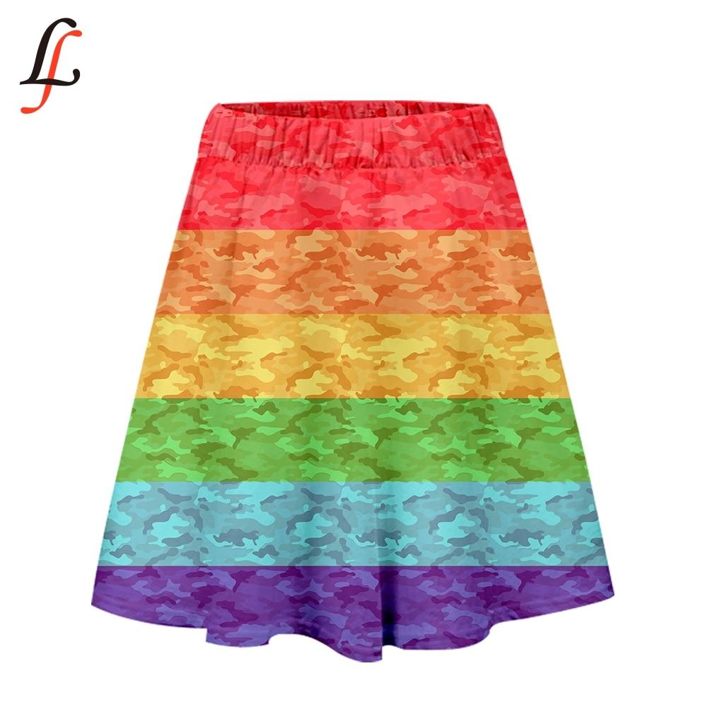 LGBT 3D estampado Falda Mujer moda Harajuku K pop Streetwear faldas cortas 2019 Venta caliente niñas Casual moda verano ocio estilo