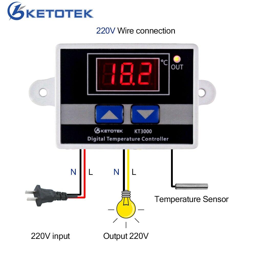 Цифровой термостат KETOTEK, светодиодный терморегулятор для микрокомпьютера, датчик NTC/K