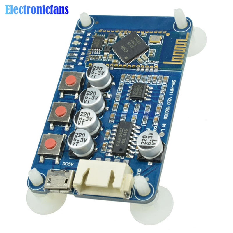 Receptor de Audio Bluetooth 4,0 PAM8403 HF11 CSR8635 amplificador estéreo módulo de interfaz USB para altavoces