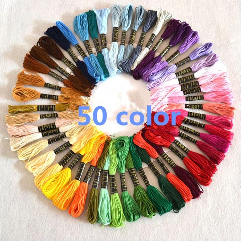 50 Uds mezclar colores Cruz puntada algodón ovillos de costura de hilo de bordado Kit de seda DIY herramientas de costura