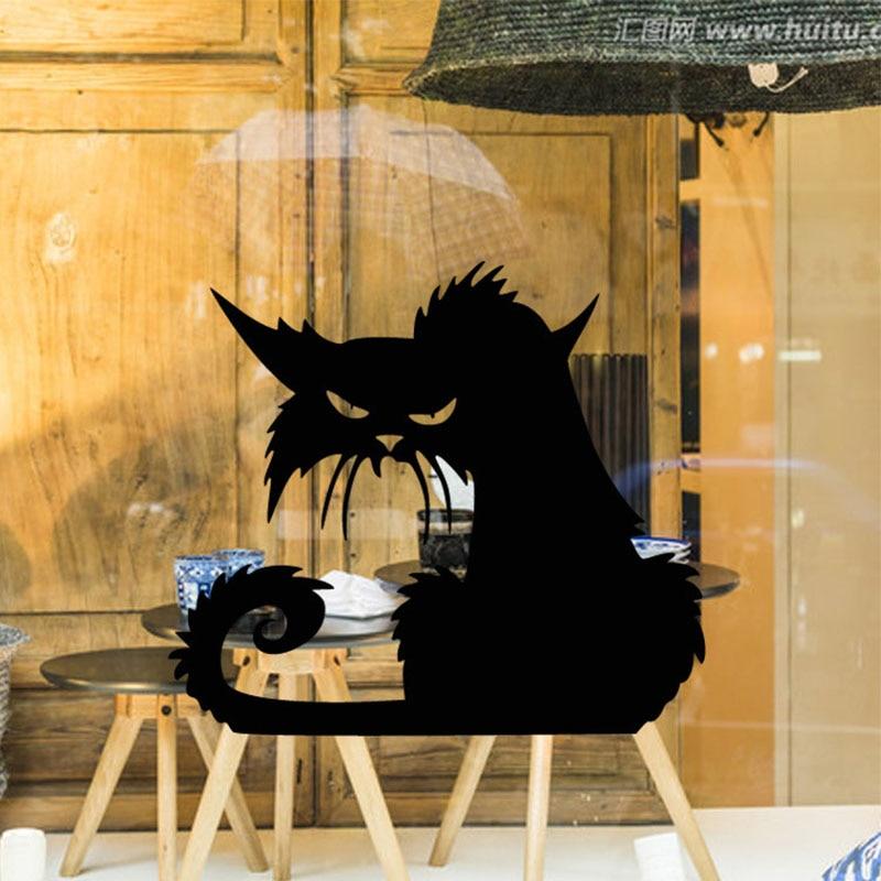 Halloween escalofriante gato negro ventana vidrio calcomanías dibujo animal hogar Decoración vinilo extraíble calcomanías Mural Envío Directo