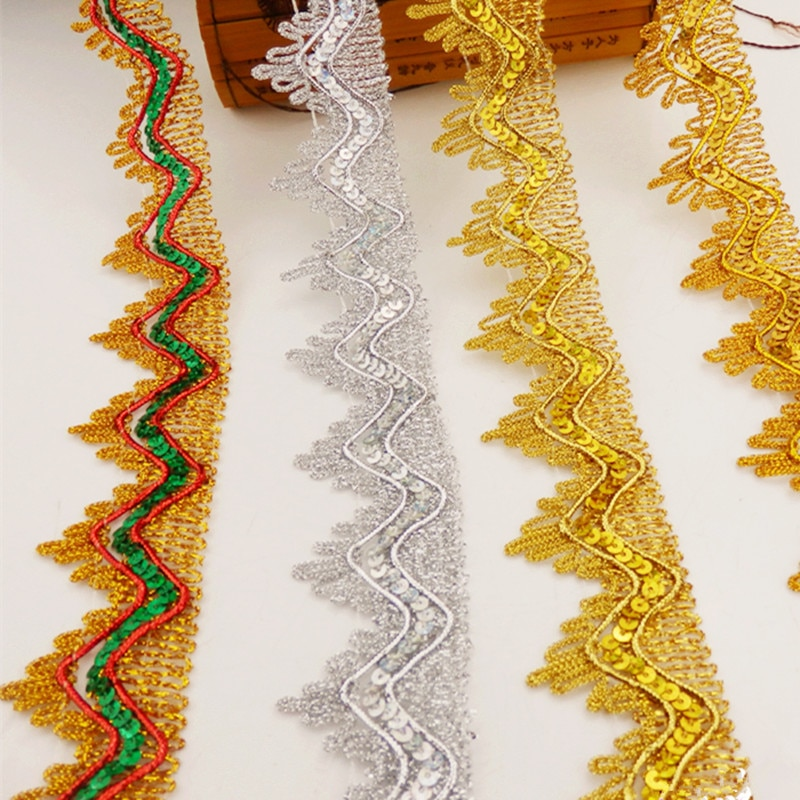 Cintas de encaje de lentejuelas, accesorios para Cosplay con apliques de rendimiento, ondas de ganchillo, encaje dorado, plateado, trenza, banda de costura dorada, 3,5 cm