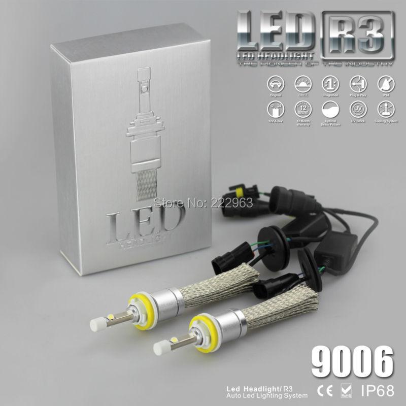 30 conjuntos/lote sin ventilador R3 Kit de faros delanteros LED H1 H3 H7 H8 H9 H10 H11 9005 9006 H16 H4 H13 9004