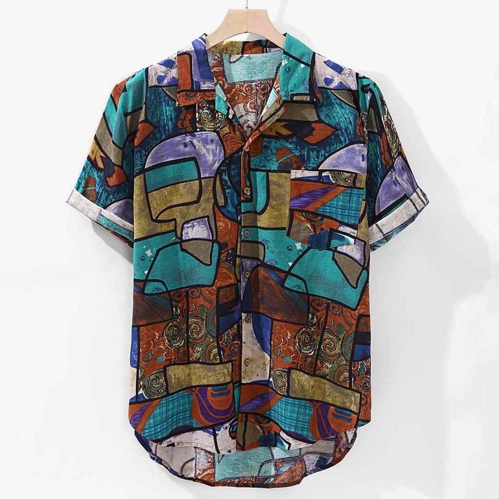 Summer Mens Shirts Blouse Linen Beach Hawaiian Print Pocket Short Sleeve Round Hem Loose Men Dress Shirts Tops Camisas Hombre