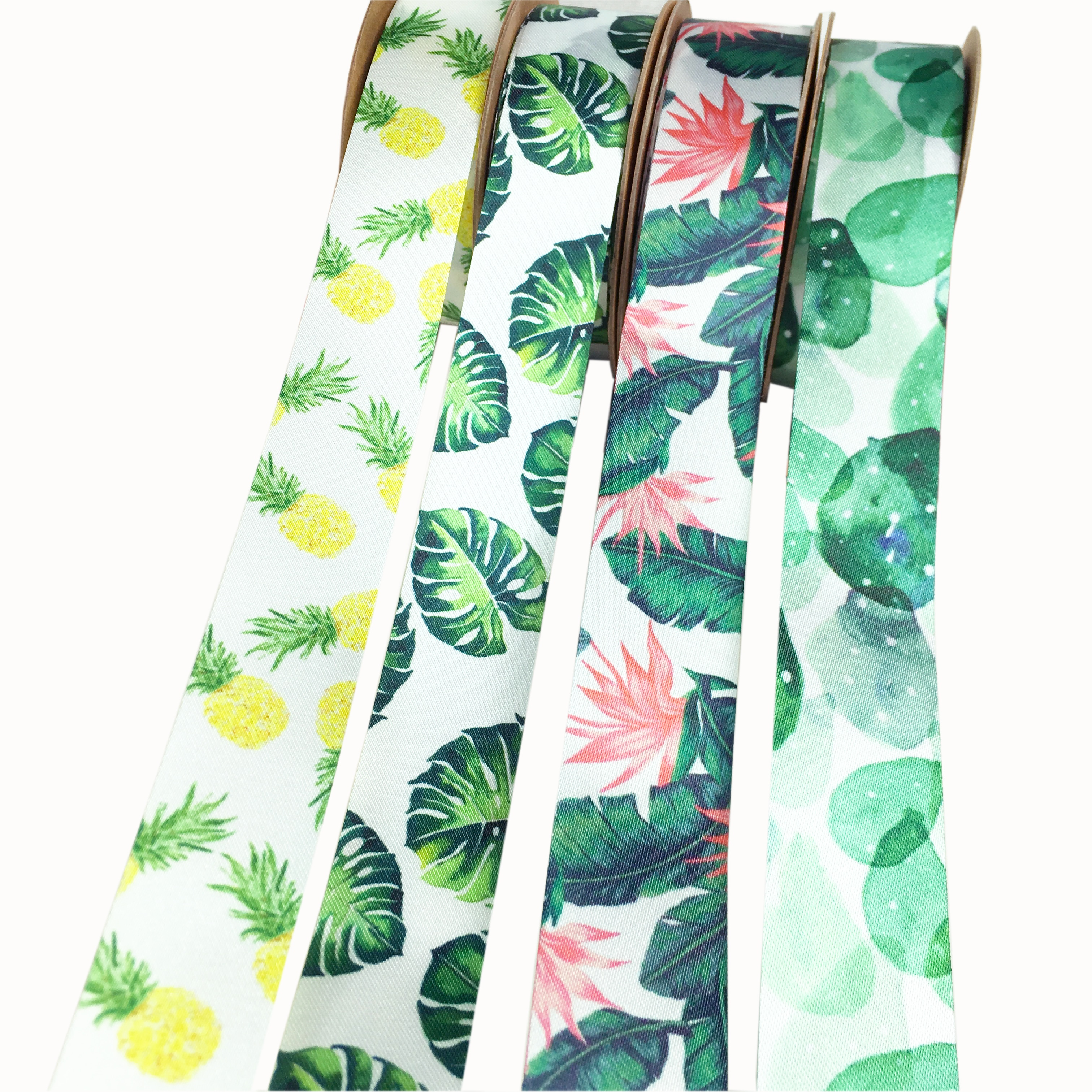 Nuevo conjunto de cintas de raso con colores variados, cinta de raso impresa DIY, lazos para el pelo para envolver regalos, flamenco Tropical, accesorio hecho a mano para bodas, 2 yardas