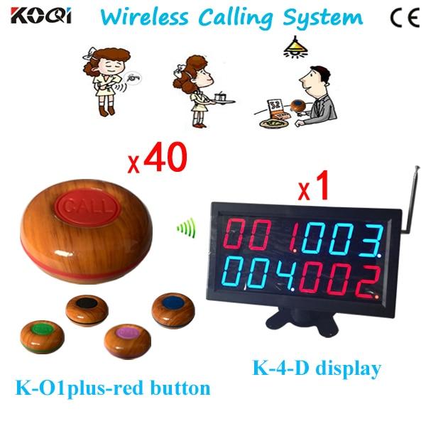Venta caliente Popular restaurante equipo de buscapersonas inalámbrico K-4-D + K-O1plus-red sistema de llamadas inalámbricas