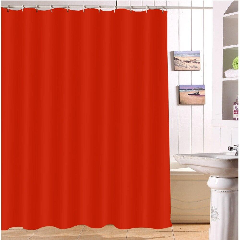 Cortinas de ducha impermeables de color rojo sólido, cortinas de baño impresas de poliéster, tela de cortina para niña, decoración del hogar para bañera