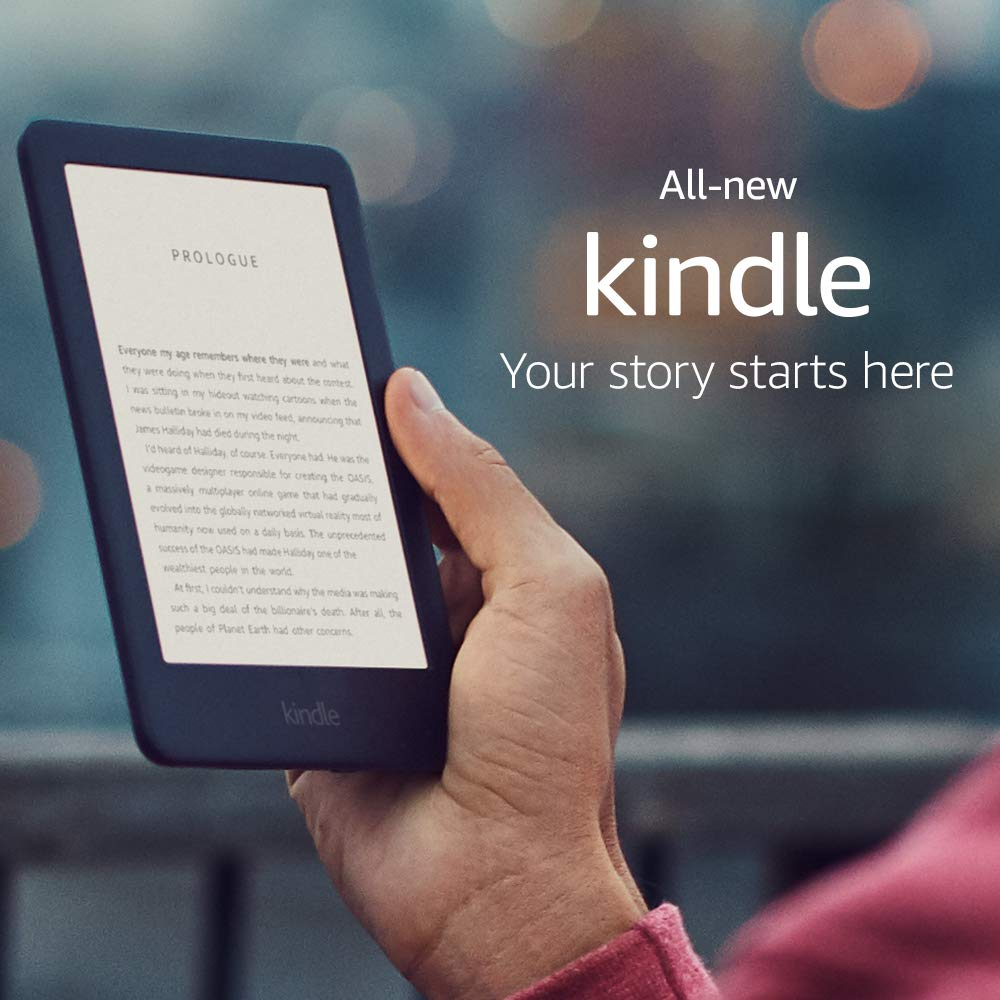 All-new Kindle Black 2019 version, Now with a Built-in Front Light, Wi-Fi 4GB eBook e-ink screen 6-i