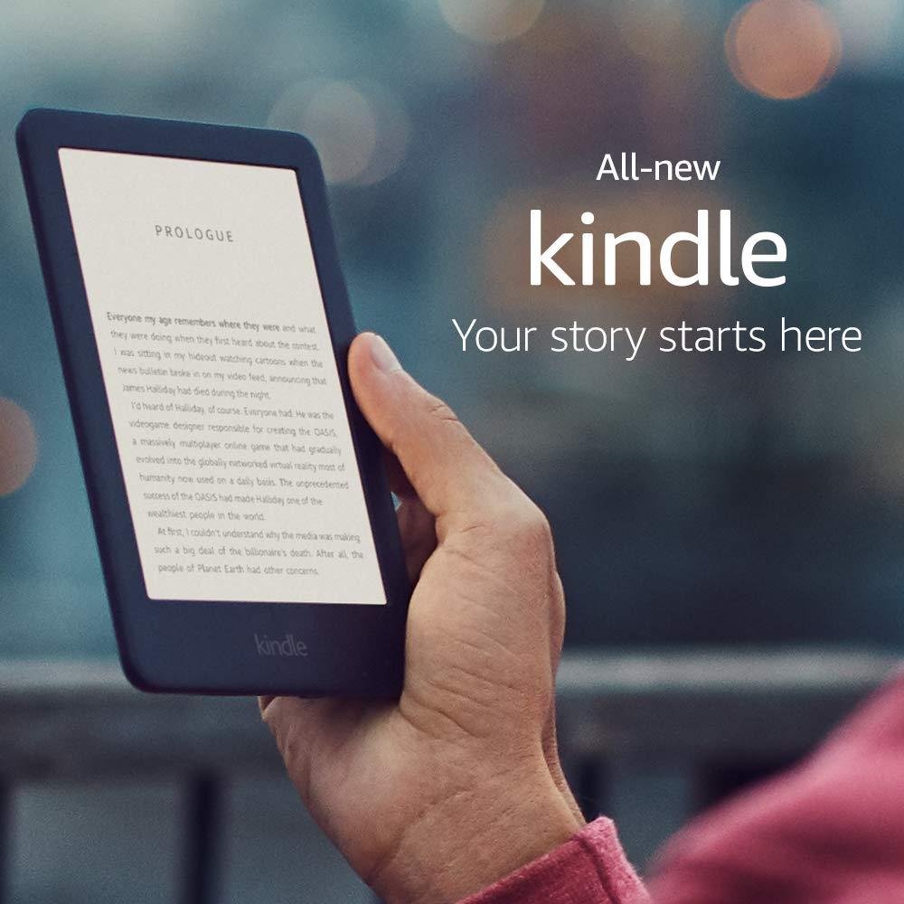 Kindle-قارئ الكتب الإلكترونية ، مع ضوء أمامي مدمج ، شاشة حبر إلكتروني 6 إنش, إصدار 2019 جديد تمامًا ، واي فاي 4 جيجابايت ، لون أسود